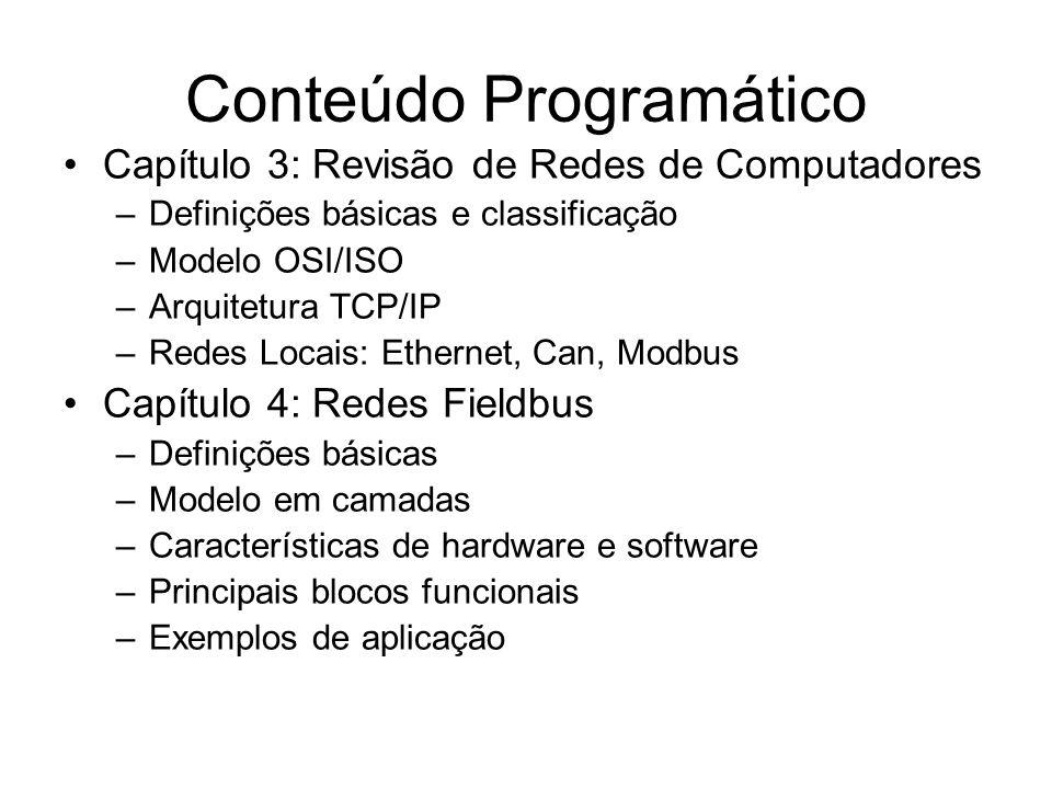 Conteúdo Programático Capítulo 3: Revisão de Redes de Computadores –Definições básicas e classificação –Modelo OSI/ISO –Arquitetura TCP/IP –Redes Loca