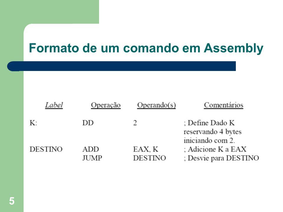 6 Campos de uma instrução Assembly Label: Nome simbólico atribuído a um endereço.