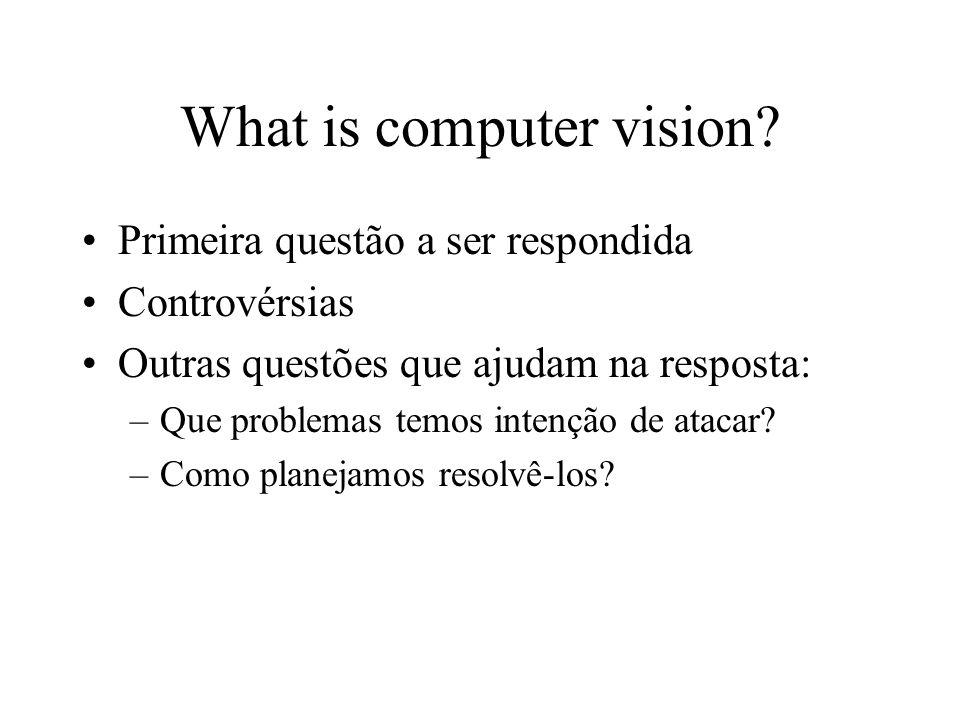 What is computer vision? Primeira questão a ser respondida Controvérsias Outras questões que ajudam na resposta: –Que problemas temos intenção de atac