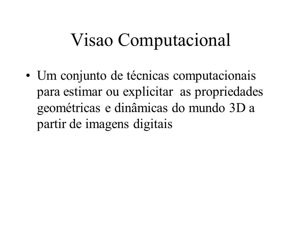 Visao Computacional Um conjunto de técnicas computacionais para estimar ou explicitar as propriedades geométricas e dinâmicas do mundo 3D a partir de imagens digitais