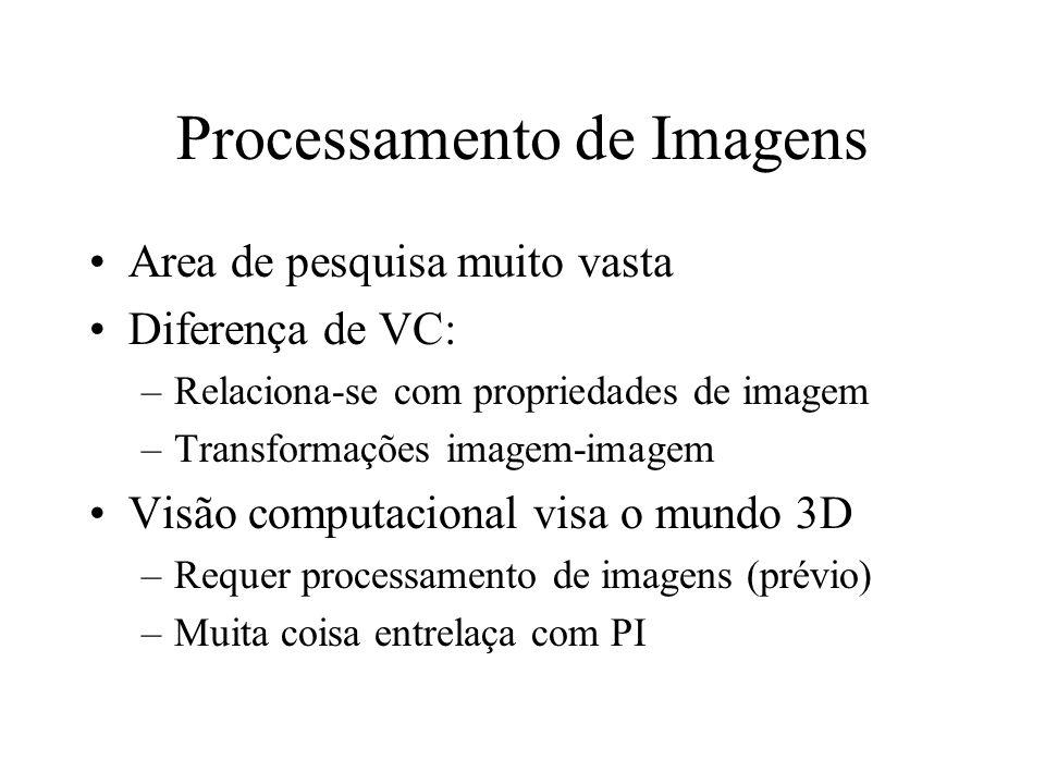 Processamento de Imagens Area de pesquisa muito vasta Diferença de VC: –Relaciona-se com propriedades de imagem –Transformações imagem-imagem Visão computacional visa o mundo 3D –Requer processamento de imagens (prévio) –Muita coisa entrelaça com PI
