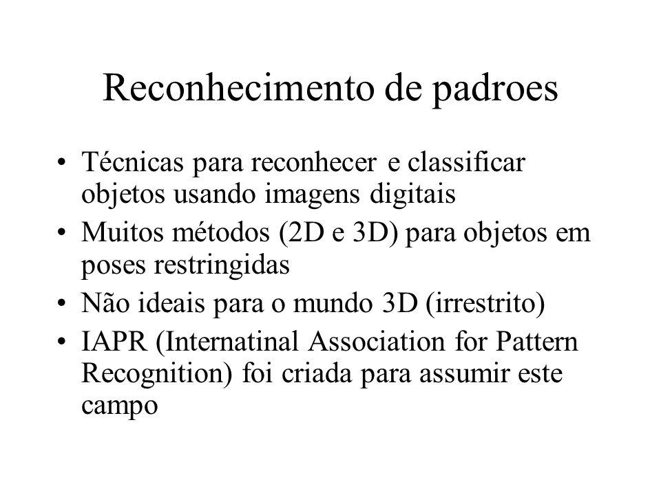 Reconhecimento de padroes Técnicas para reconhecer e classificar objetos usando imagens digitais Muitos métodos (2D e 3D) para objetos em poses restringidas Não ideais para o mundo 3D (irrestrito) IAPR (Internatinal Association for Pattern Recognition) foi criada para assumir este campo
