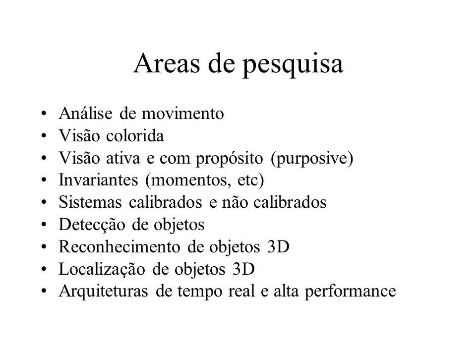 Areas de pesquisa Análise de movimento Visão colorida Visão ativa e com propósito (purposive) Invariantes (momentos, etc) Sistemas calibrados e não calibrados Detecção de objetos Reconhecimento de objetos 3D Localização de objetos 3D Arquiteturas de tempo real e alta performance