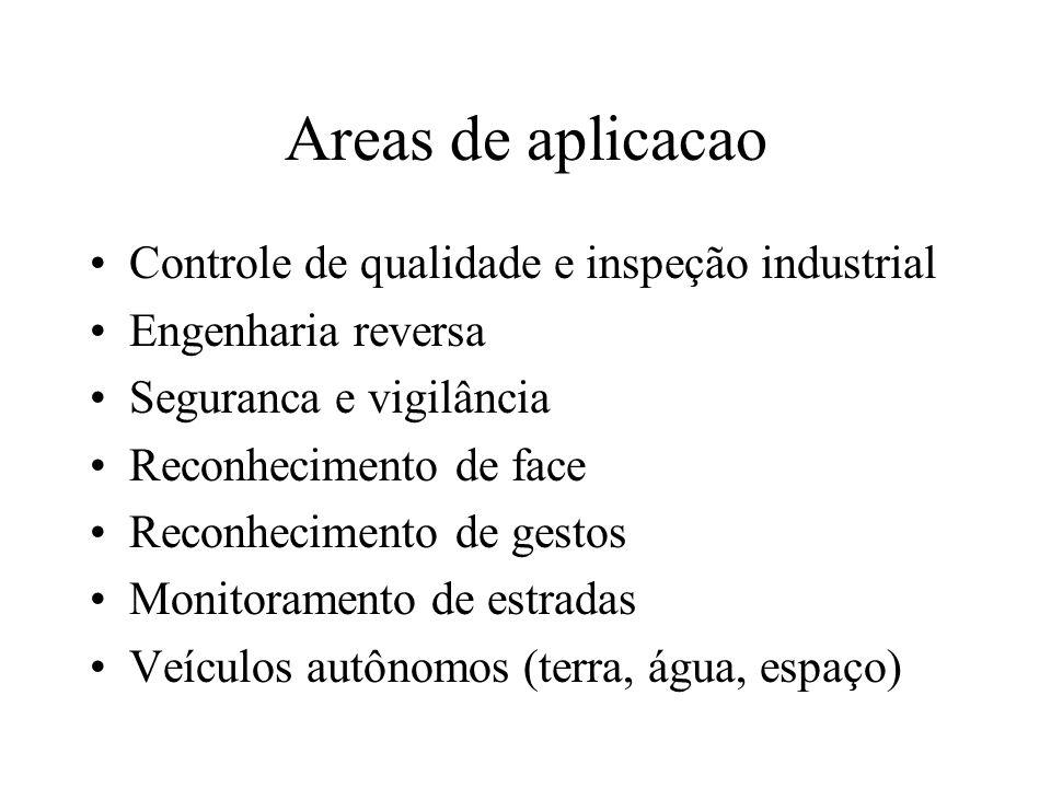 Areas de aplicacao Controle de qualidade e inspeção industrial Engenharia reversa Seguranca e vigilância Reconhecimento de face Reconhecimento de gest