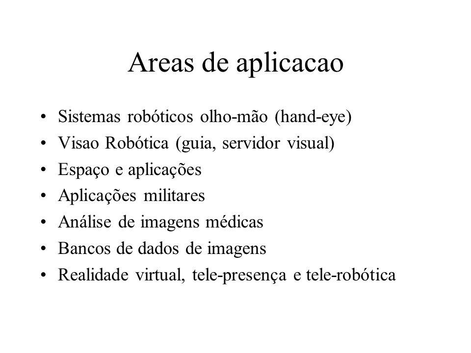 Areas de aplicacao Sistemas robóticos olho-mão (hand-eye) Visao Robótica (guia, servidor visual) Espaço e aplicações Aplicações militares Análise de imagens médicas Bancos de dados de imagens Realidade virtual, tele-presença e tele-robótica