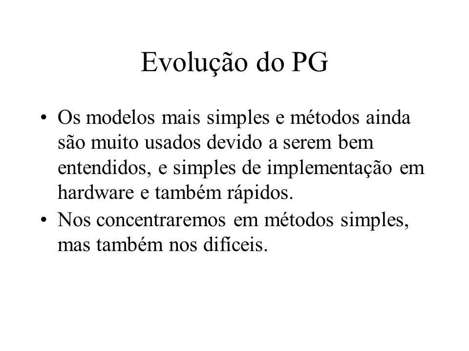 Evolução do PG Os modelos mais simples e métodos ainda são muito usados devido a serem bem entendidos, e simples de implementação em hardware e também