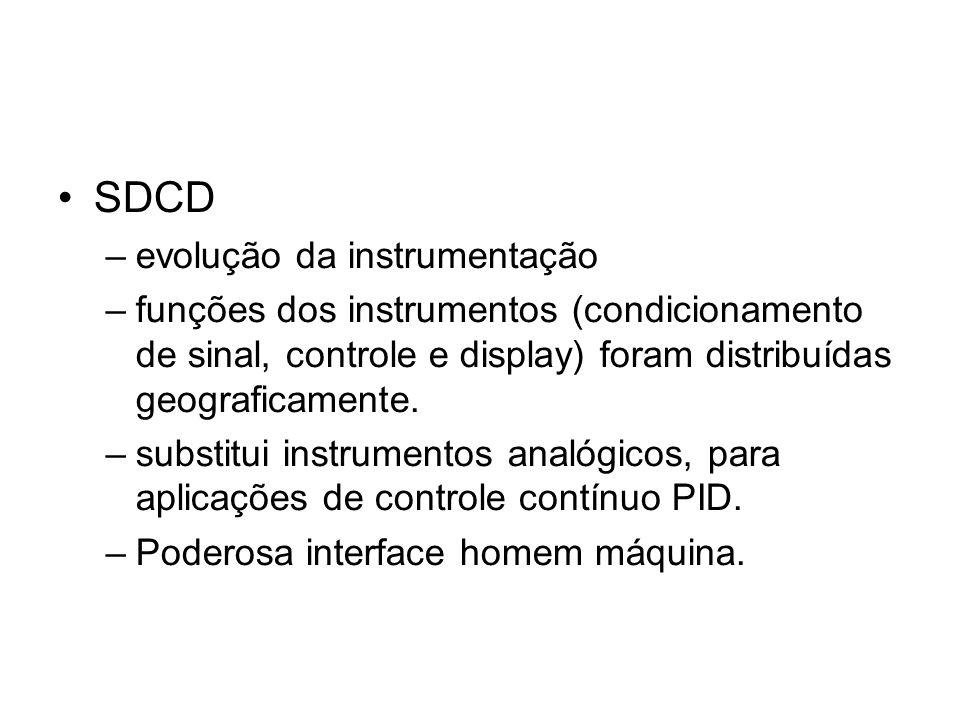 SDCD –evolução da instrumentação –funções dos instrumentos (condicionamento de sinal, controle e display) foram distribuídas geograficamente. –substit