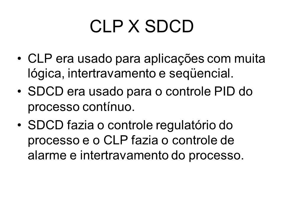 CLP X SDCD CLP era usado para aplicações com muita lógica, intertravamento e seqüencial. SDCD era usado para o controle PID do processo contínuo. SDCD
