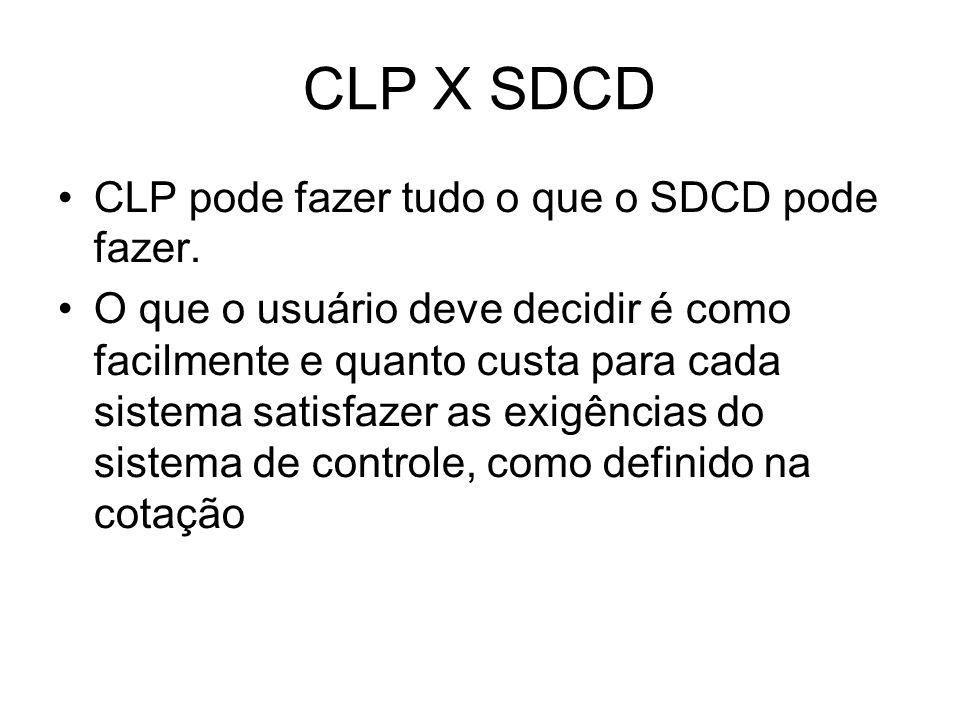 CLP X SDCD CLP pode fazer tudo o que o SDCD pode fazer. O que o usuário deve decidir é como facilmente e quanto custa para cada sistema satisfazer as