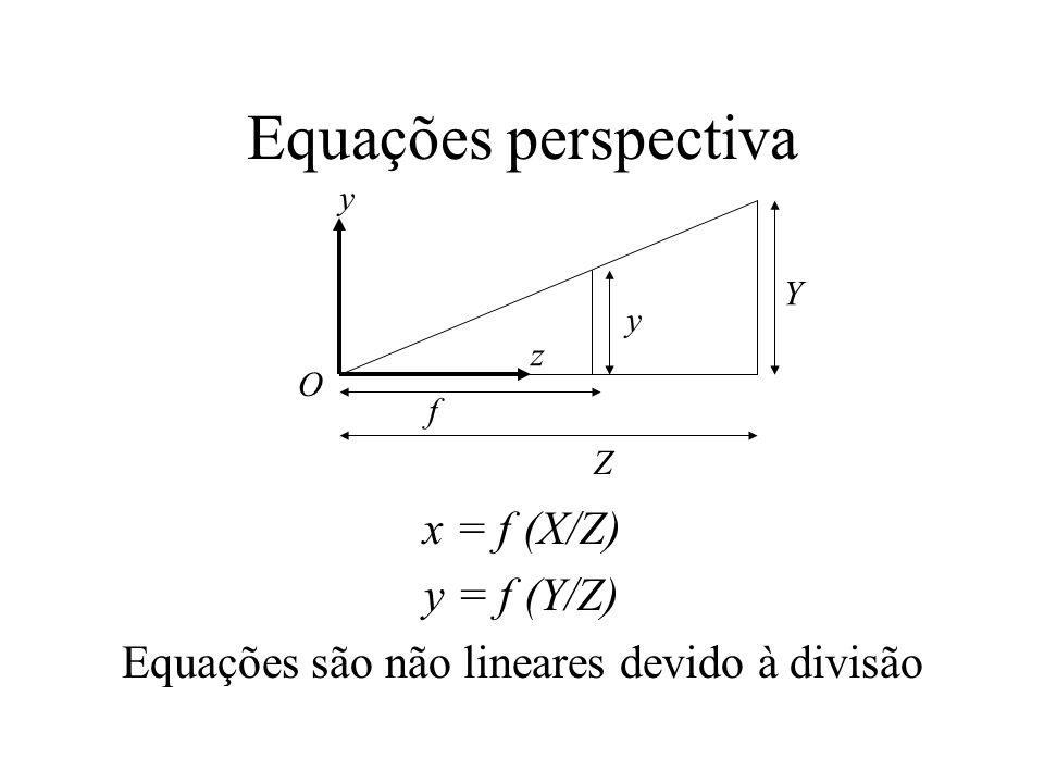 Equações perspectiva x = f (X/Z) y = f (Y/Z) Equações são não lineares devido à divisão O Z Y y f y z