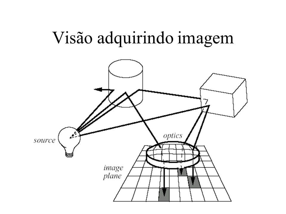 Visão - Formação de Imagem Energia de uma fonte de luz é radiada uniformemente em 4 radianos Irradiância é a soma de toda a luz incidente na imagem Reflexão pode ser difusa ou especular, depende da superfície e comprimento de onda da luz Superfície que reflete energia eletro-magnética modula o conteúdo do espectro, intensidade e polarização da luz incidente Função da intensidade radiante é projetada no plano imagem 2D, espacialmente amostrada e digitalizada a 30 fps.