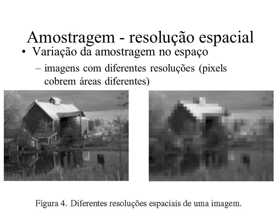 Amostragem - resolução espacial Variação da amostragem no espaço –imagens com diferentes resoluções (pixels cobrem áreas diferentes)
