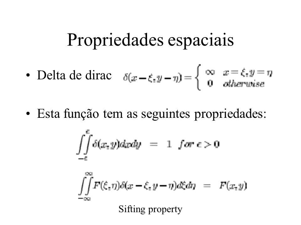 Propriedades espaciais Delta de dirac Esta função tem as seguintes propriedades: Sifting property