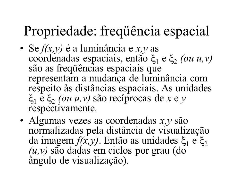 Propriedade: freqüência espacial Se f(x,y) é a luminância e x,y as coordenadas espaciais, então 1 e 2 (ou u,v) são as freqüências espaciais que repres