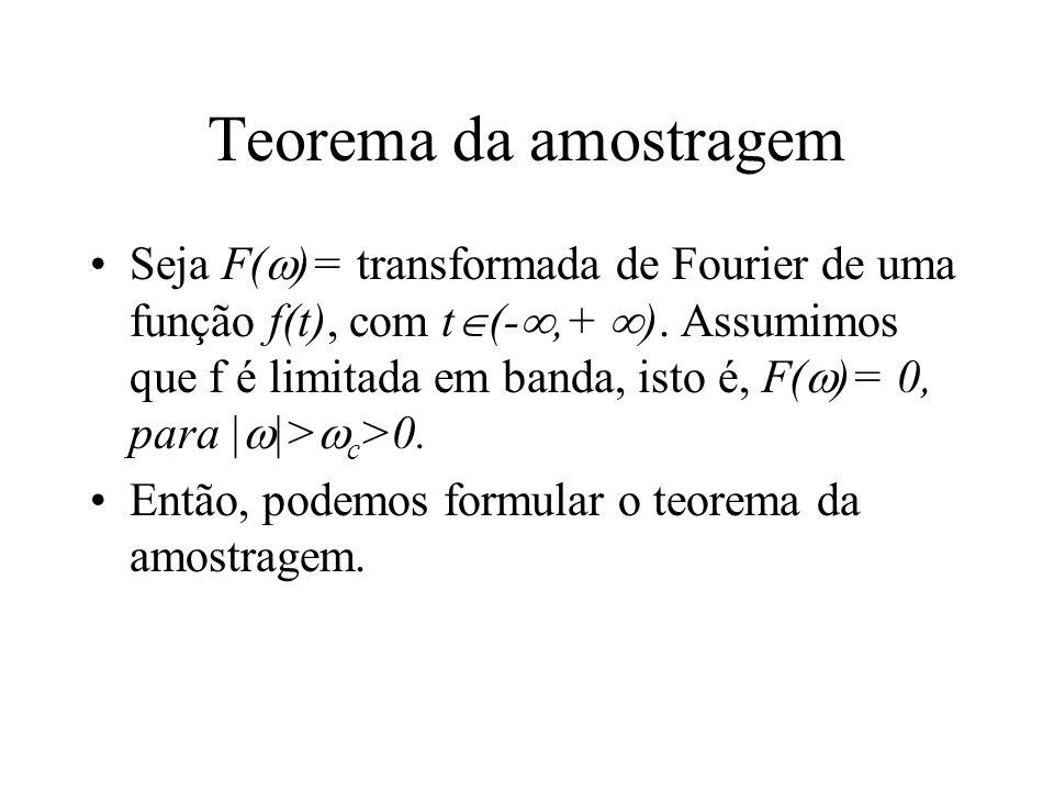 Teorema da amostragem Seja F( )= transformada de Fourier de uma função f(t), com t (-,+ ). Assumimos que f é limitada em banda, isto é, F( )= 0, para