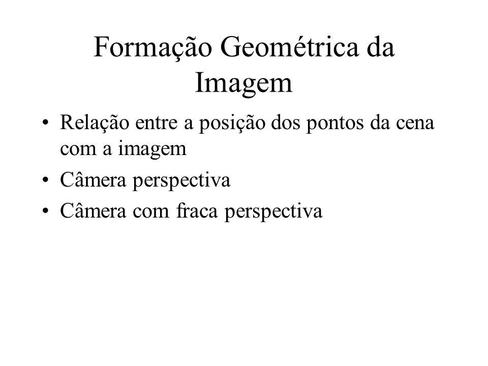 Formação Geométrica da Imagem Relação entre a posição dos pontos da cena com a imagem Câmera perspectiva Câmera com fraca perspectiva