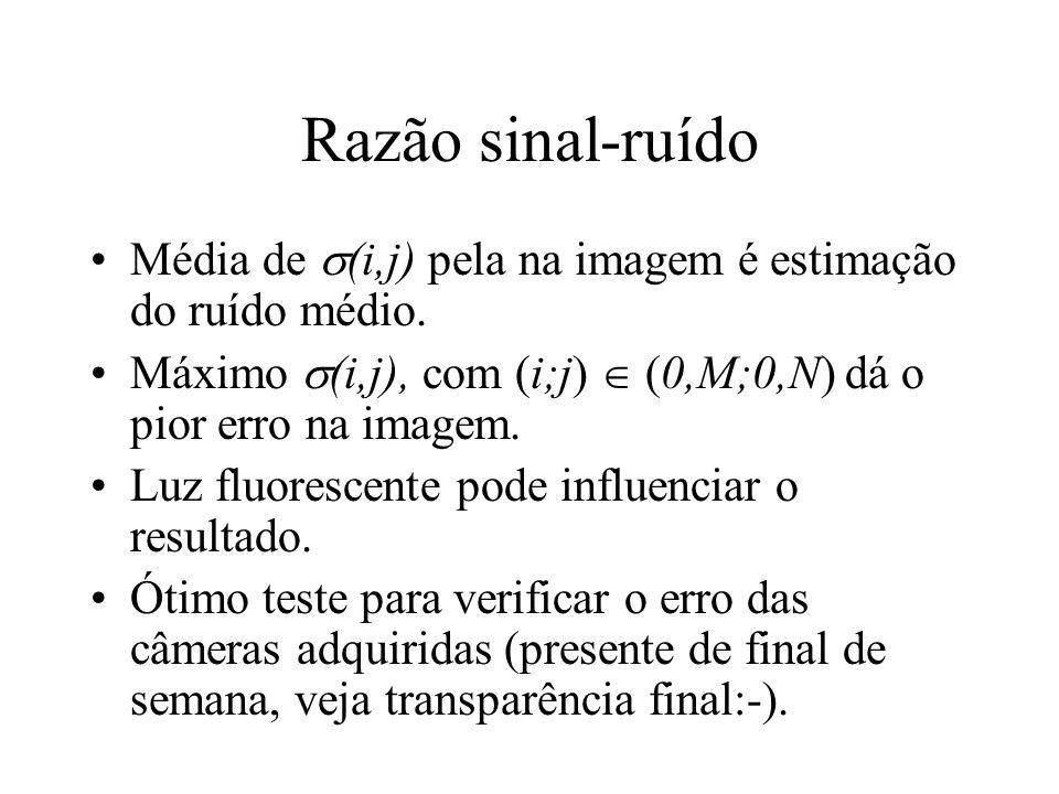 Razão sinal-ruído Média de (i,j) pela na imagem é estimação do ruído médio. Máximo (i,j), com (i;j) (0,M;0,N) dá o pior erro na imagem. Luz fluorescen