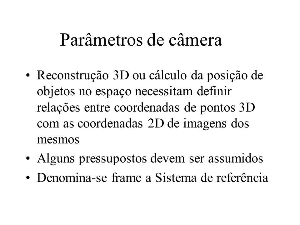 Parâmetros de câmera Reconstrução 3D ou cálculo da posição de objetos no espaço necessitam definir relações entre coordenadas de pontos 3D com as coor
