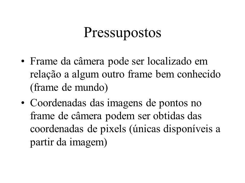 Pressupostos Frame da câmera pode ser localizado em relação a algum outro frame bem conhecido (frame de mundo) Coordenadas das imagens de pontos no fr