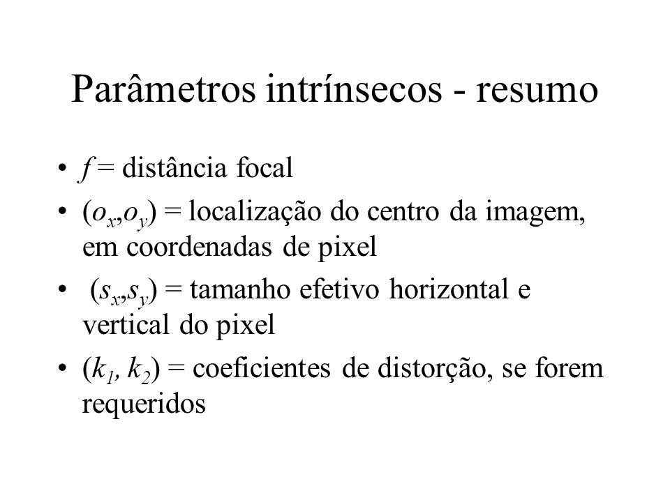 Parâmetros intrínsecos - resumo f = distância focal (o x,o y ) = localização do centro da imagem, em coordenadas de pixel (s x,s y ) = tamanho efetivo