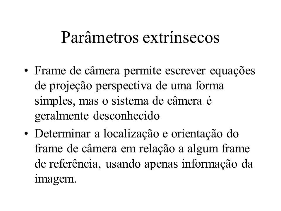 Parâmetros extrínsecos Frame de câmera permite escrever equações de projeção perspectiva de uma forma simples, mas o sistema de câmera é geralmente de