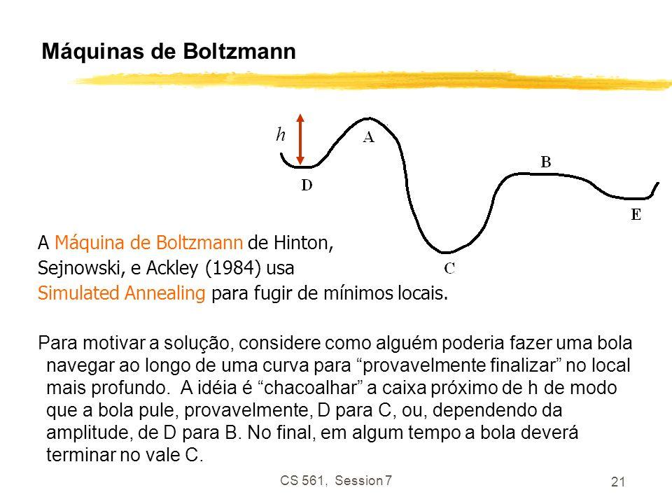 CS 561, Session 7 21 Máquinas de Boltzmann h A Máquina de Boltzmann de Hinton, Sejnowski, e Ackley (1984) usa Simulated Annealing para fugir de mínimos locais.