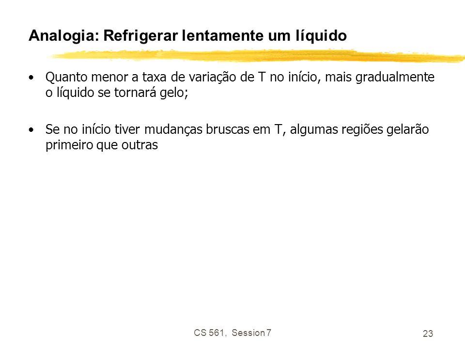 CS 561, Session 7 23 Analogia: Refrigerar lentamente um líquido Quanto menor a taxa de variação de T no início, mais gradualmente o líquido se tornará gelo; Se no início tiver mudanças bruscas em T, algumas regiões gelarão primeiro que outras