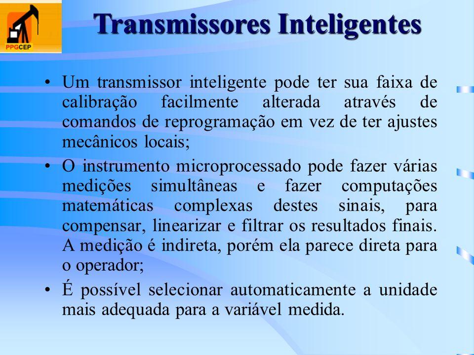 Um transmissor inteligente pode ter sua faixa de calibração facilmente alterada através de comandos de reprogramação em vez de ter ajustes mecânicos l