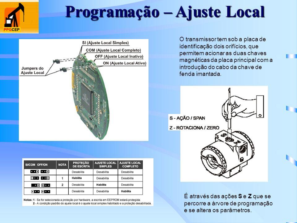 Programação – Ajuste Local O transmissor tem sob a placa de identificação dois orifícios, que permitem acionar as duas chaves magnéticas da placa prin