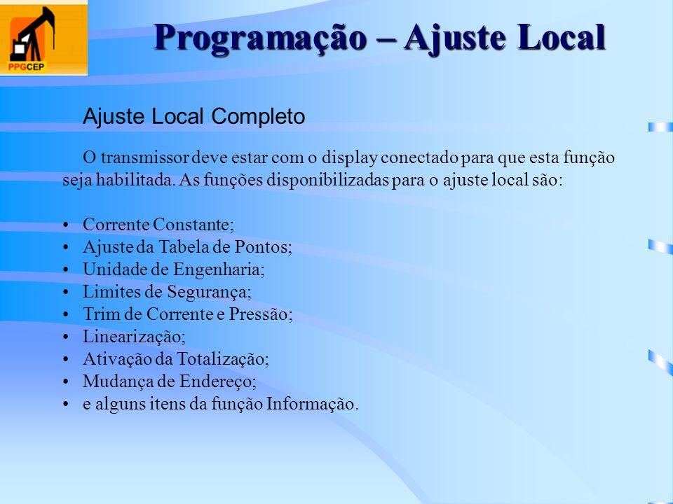 Programação – Ajuste Local Ajuste Local Completo O transmissor deve estar com o display conectado para que esta função seja habilitada. As funções dis