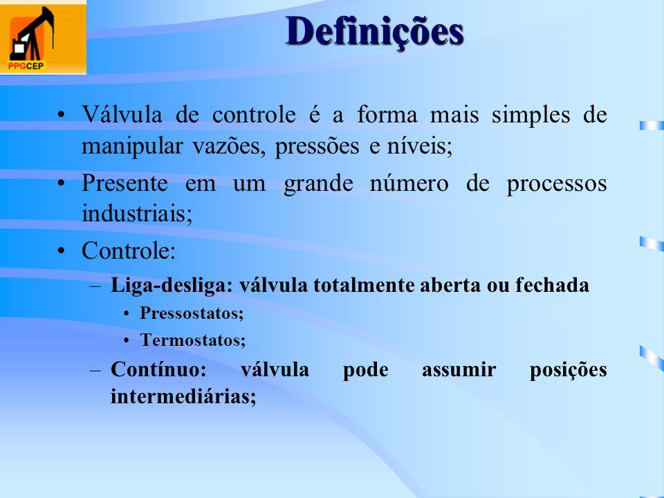 Definições Válvula de controle é a forma mais simples de manipular vazões, pressões e níveis; Presente em um grande número de processos industriais; C