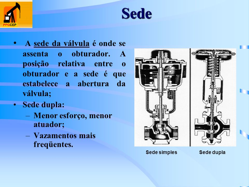 Sede A sede da válvula é onde se assenta o obturador. A posição relativa entre o obturador e a sede é que estabelece a abertura da válvula; Sede dupla