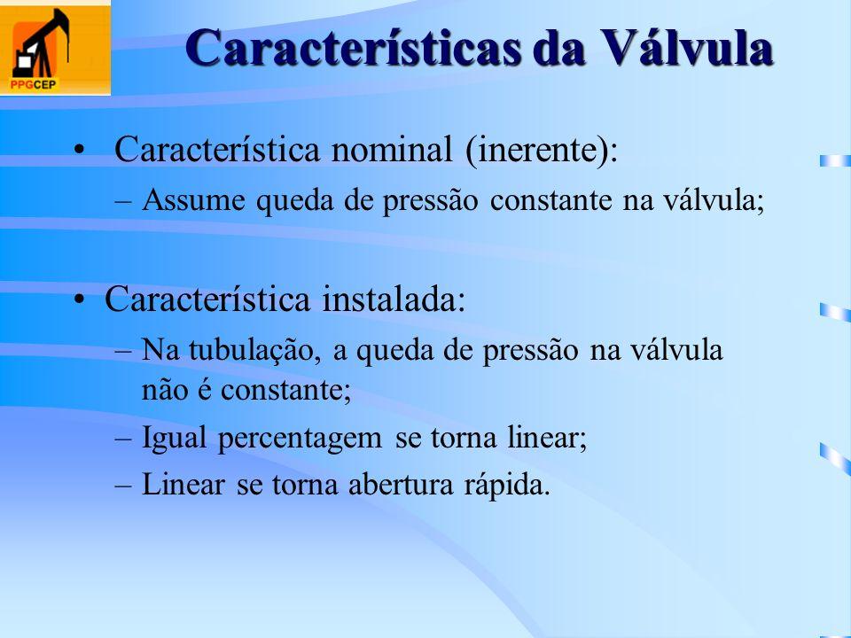 Características da Válvula Característica nominal (inerente): –Assume queda de pressão constante na válvula; Característica instalada: –Na tubulação,