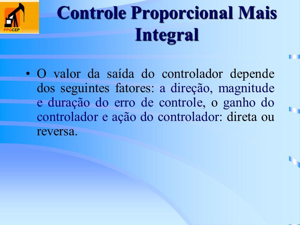 Controle Proporcional Mais Integral O valor da saída do controlador depende dos seguintes fatores: a direção, magnitude e duração do erro de controle,