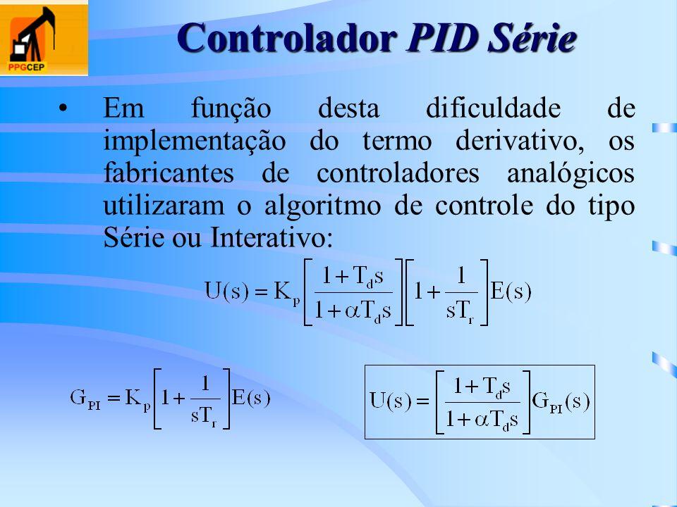 Controlador PID Série Em função desta dificuldade de implementação do termo derivativo, os fabricantes de controladores analógicos utilizaram o algori