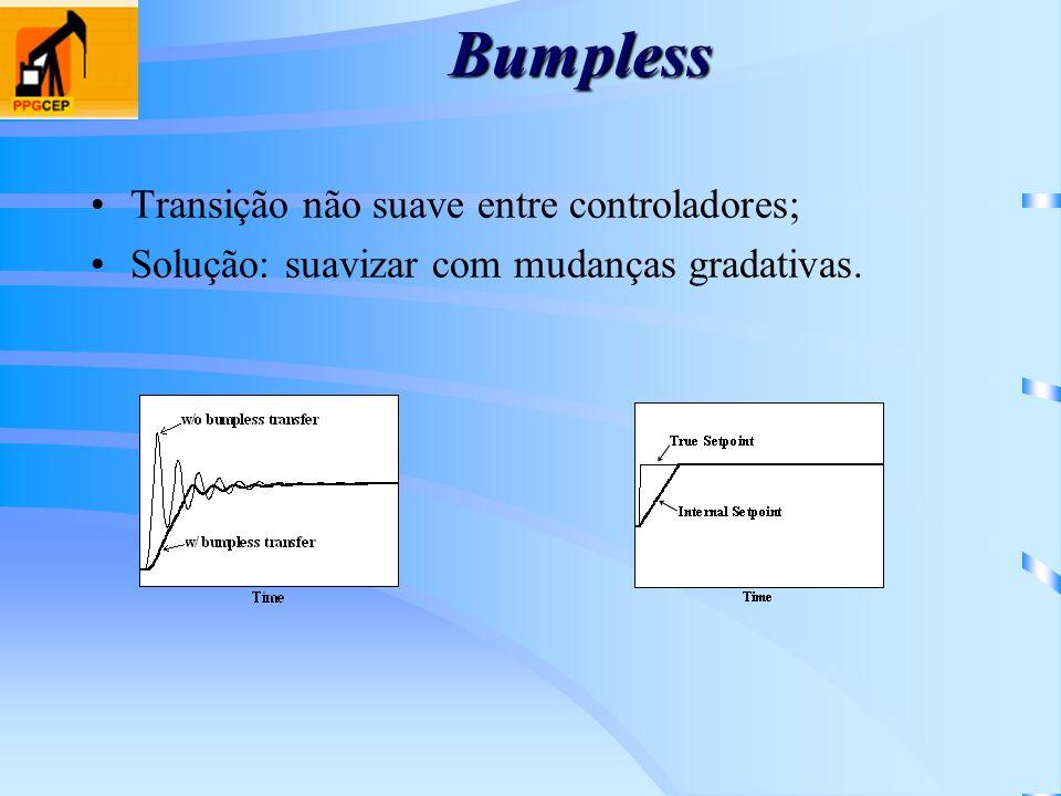 Bumpless Transição não suave entre controladores; Solução: suavizar com mudanças gradativas.