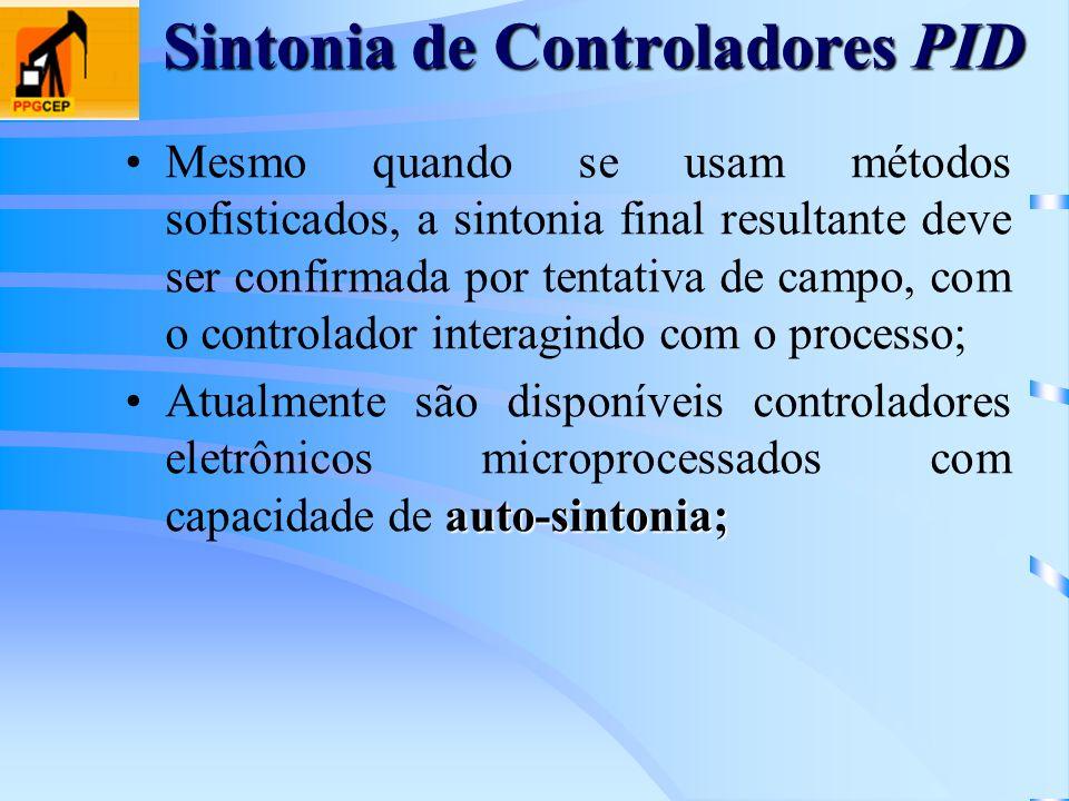 Sintonia de Controladores PID Mesmo quando se usam métodos sofisticados, a sintonia final resultante deve ser confirmada por tentativa de campo, com o