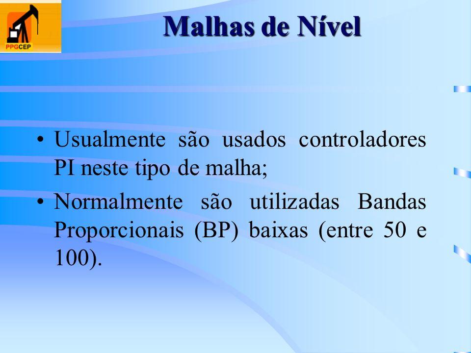 Malhas de Nível Usualmente são usados controladores PI neste tipo de malha; Normalmente são utilizadas Bandas Proporcionais (BP) baixas (entre 50 e 10