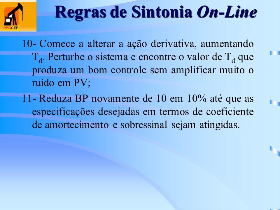 Regras de Sintonia On-Line 10- Comece a alterar a ação derivativa, aumentando T d. Perturbe o sistema e encontre o valor de T d que produza um bom con