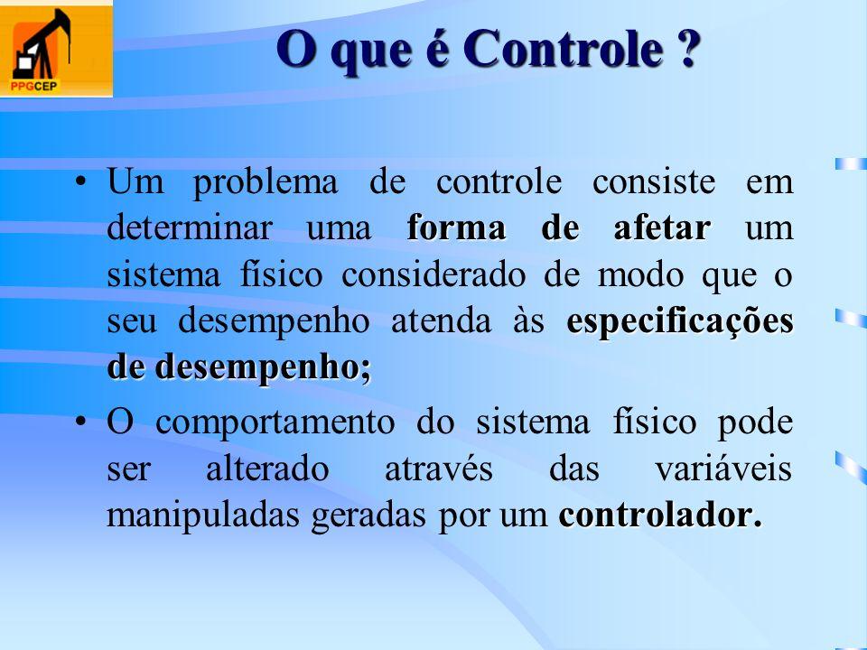 O que é Controle ? forma de afetar especificações de desempenho;Um problema de controle consiste em determinar uma forma de afetar um sistema físico c
