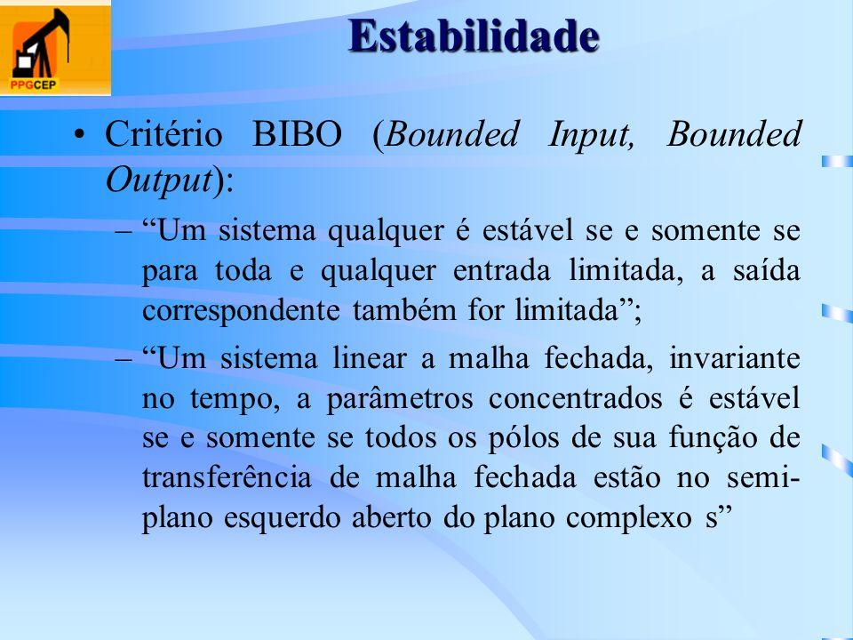 Estabilidade Critério BIBO (Bounded Input, Bounded Output): –Um sistema qualquer é estável se e somente se para toda e qualquer entrada limitada, a sa
