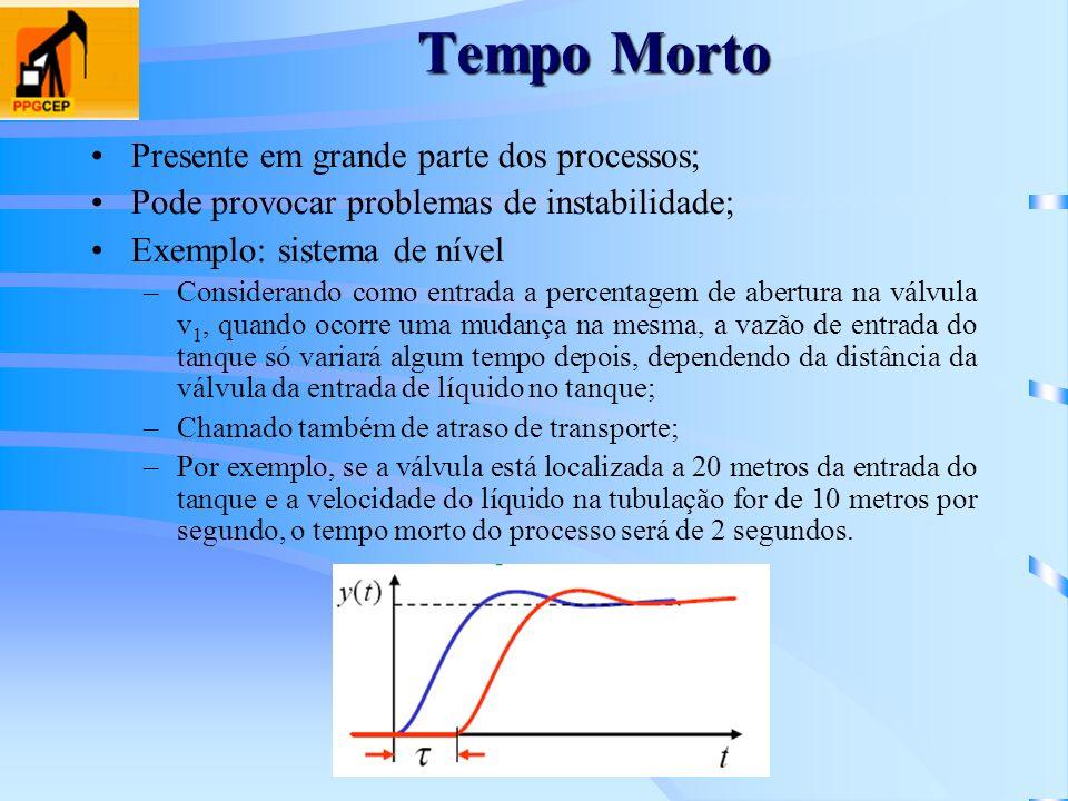 Tempo Morto Presente em grande parte dos processos; Pode provocar problemas de instabilidade; Exemplo: sistema de nível –Considerando como entrada a p