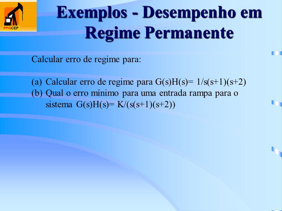 Exemplos - Desempenho em Regime Permanente Calcular erro de regime para: (a)Calcular erro de regime para G(s)H(s)= 1/s(s+1)(s+2) (b)Qual o erro mínimo
