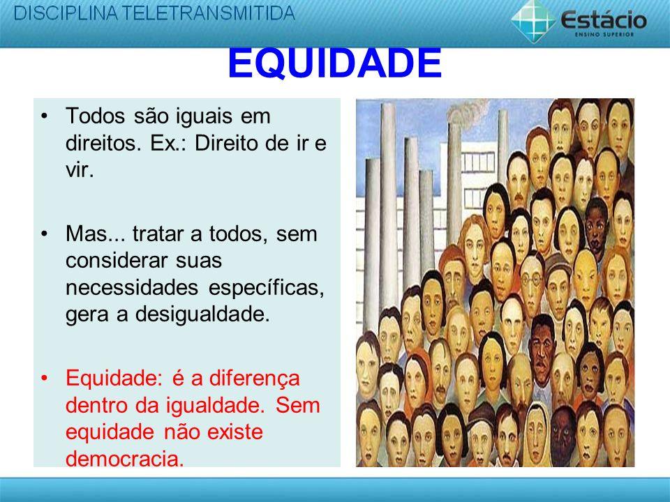 EQUIDADE Todos são iguais em direitos.Ex.: Direito de ir e vir.