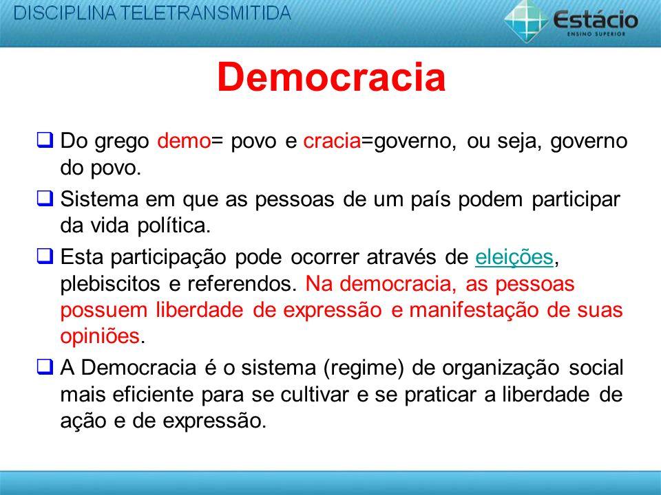 Democracia Do grego demo= povo e cracia=governo, ou seja, governo do povo.
