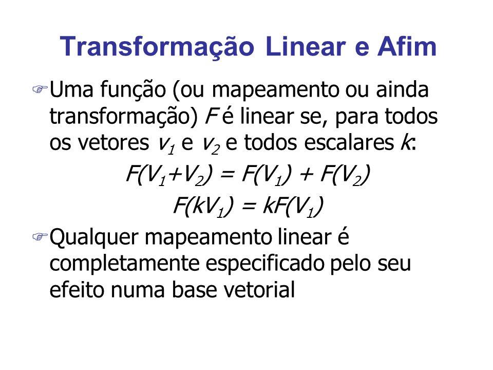 Transformação Linear e Afim F Uma função (ou mapeamento ou ainda transformação) F é linear se, para todos os vetores v 1 e v 2 e todos escalares k: F(