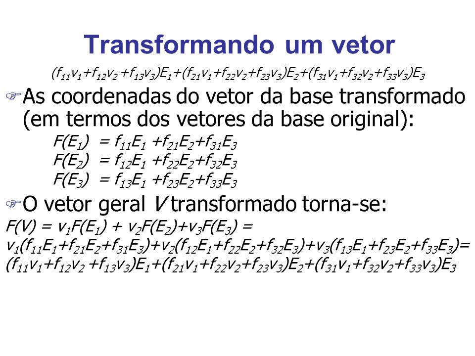 Transformando um vetor (f 11 v 1 +f 12 v 2 +f 13 v 3 )E 1 +(f 21 v 1 +f 22 v 2 +f 23 v 3 )E 2 +(f 31 v 1 +f 32 v 2 +f 33 v 3 )E 3 F As coordenadas do