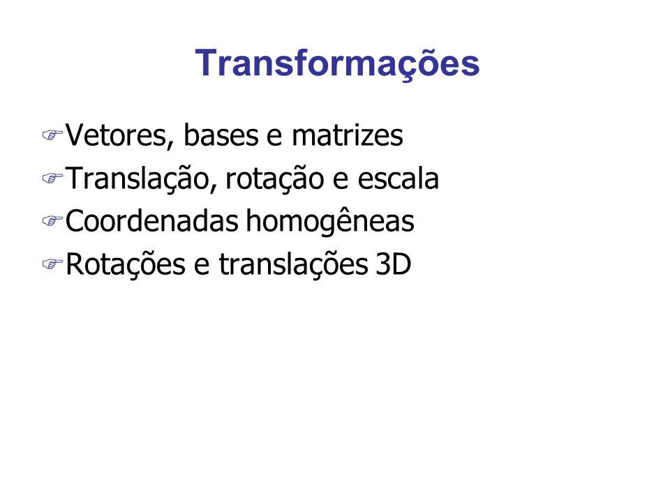 Transformações F Vetores, bases e matrizes F Translação, rotação e escala F Coordenadas homogêneas F Rotações e translações 3D