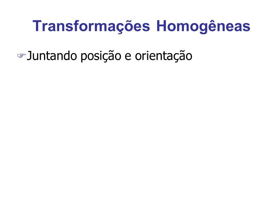 Transformações Homogêneas F Juntando posição e orientação