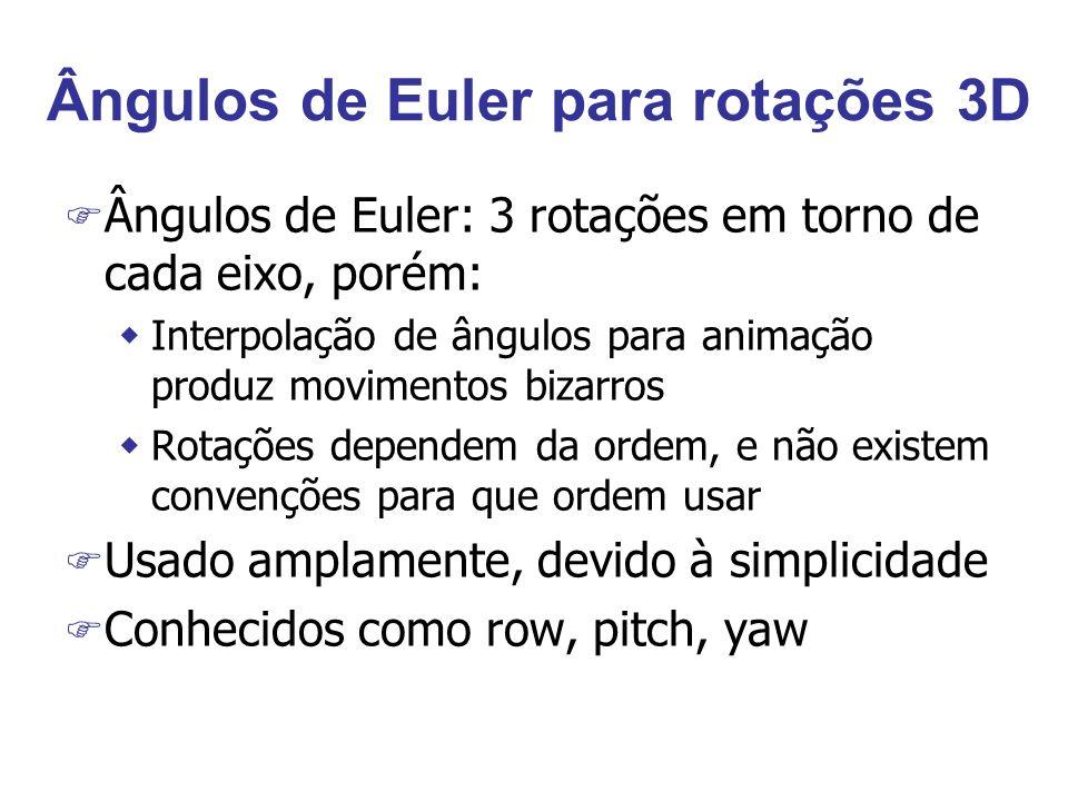 Ângulos de Euler para rotações 3D F Ângulos de Euler: 3 rotações em torno de cada eixo, porém: wInterpolação de ângulos para animação produz movimento